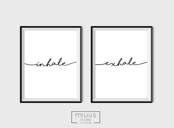 Inhale Exhale Wall Prints Yoga Wall Art by PrintsMiuusStudio
