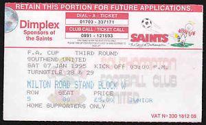 SOUTHAMPTON FC V SOUTHEND UNITED FC - 3RD ROUND FA CUP 1995 - TICKET STUB