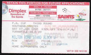 SOUTHAMPTON FC V SOUTHEND UNITED FC - 3RD ROUND FA CUP 1995 - TICKET STUB