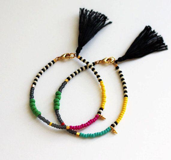 Friendship Bracelet with Tassel - Gold Spike Bracelet - Layering Bracelet - Summer Jewelry - Black and White