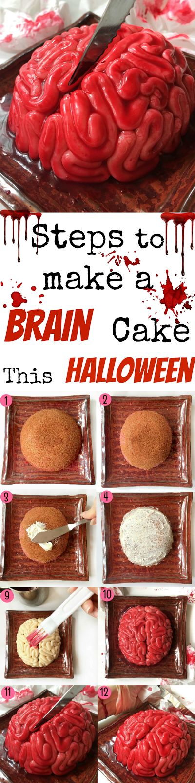 EASY Step by Step Tutorial on how to make a Halloween Brain Cake.
