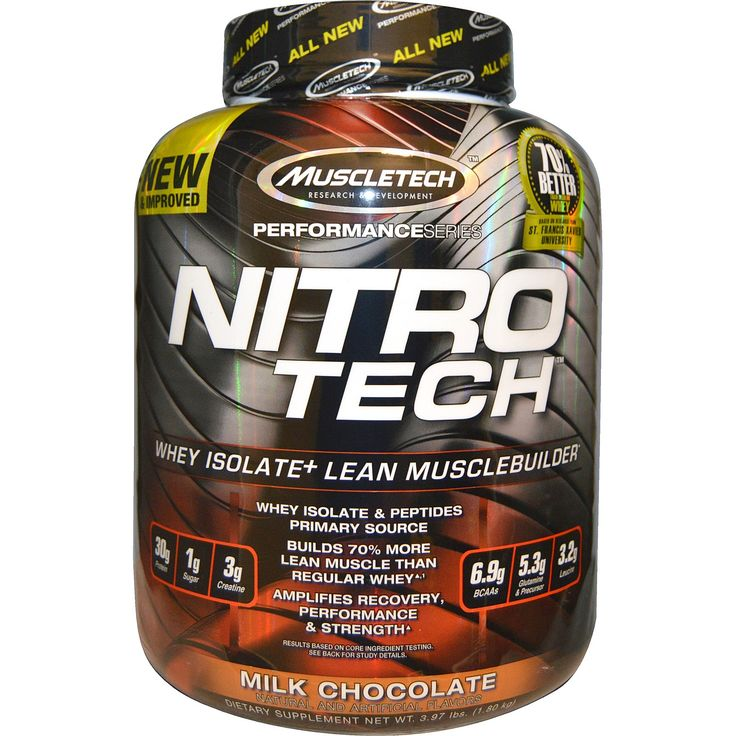 Muscletech, Performance Series, Nitro-Tech, Whey Isolate   Lean Musclebuilder, Milk Chocolate, 3.97 lbs (1.80 kg)