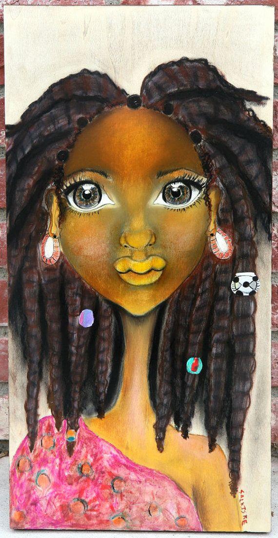 Esta pieza de arte africano es impresionante... Chipo significa regalo en el África meridional. Este cuadro fue inspirado y una foto que vi de niña con locomotoras en su cabello. Es una combinación de acrílicos, acuarelas, pasteles y carboncillo colores con tonos de marrón y negro para su pelo, tez de nuez de mantequilla y un vestido teñido de colores fucsia, naranja y verdes. Quería hacer algo dulce mirando como siempre y id definitivamente. Haga de su casa su casa.  Libre de envío para el…