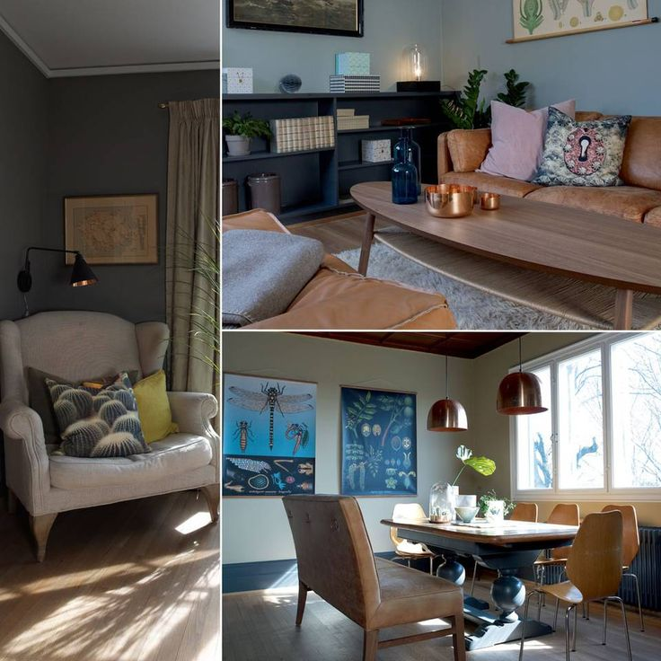 """Innenfor stuen og var opprinnelig et såkalt """"biblioteksrom"""" eller en """"røkestue"""". Romløsningen fungerer imidlertid like godt i dag som på 30-tallet, og med to barn i huset er det praktisk å ha et eget tv-rom. Sofaen er et tidligere bruktkupp fra finn.no, bordet er fra Ikea, puffen fra House Doctor. Biologiplansjene som pryder veggen er kjøpt på finn.no SPISESTUE: Bordet på kjøkkenet har hun arvet etter en venninne av mormoren. Det er kraftig og flott og står i tøff kontrast til stolene. For…"""