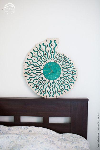 """Часы для дома ручной работы. Настенные часы из дерева """"Shell"""". Baobab. Ярмарка Мастеров. Натуральные материалы, авторские предметы"""
