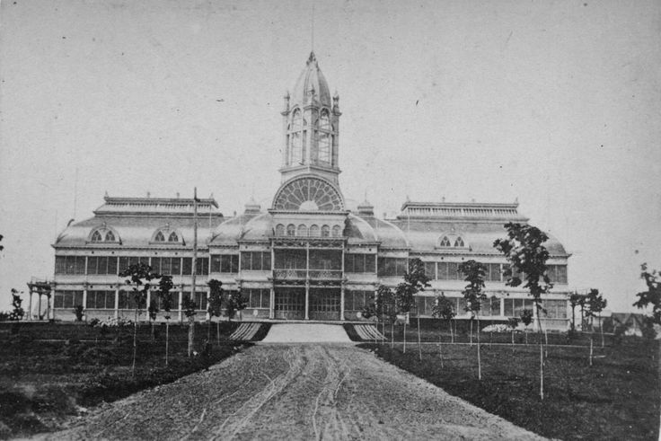 The Crystal Palace (1879-1906) was one of the iconic buildings on the grounds. It became one of the first buildings lit by electricity in 1882.  A wooden building, it was destroyed by fire in 1906, and was replaced with the modern Horticultural building.