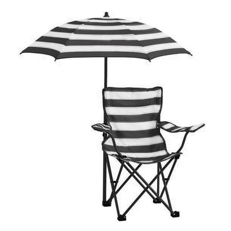 Kids Rugby Stripe Beach Chair with Umbrella (Black) (Polyester Blend)