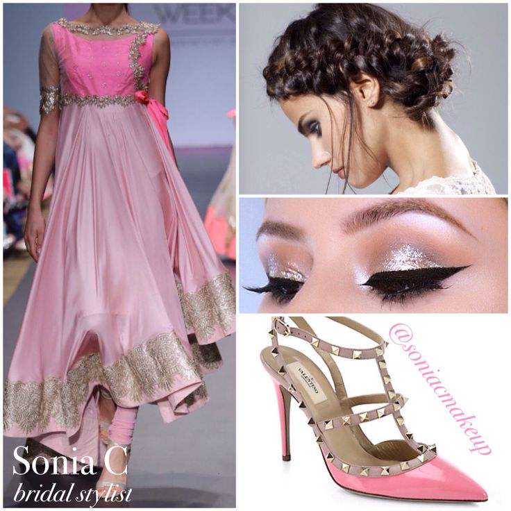 Grab attention with this bridesmaids or indian wedding guest look! Shades of pink, braided hairstyle, Valentino rockstud pumps, glittery shadow, black liner. Style board by www.soniacollection.com