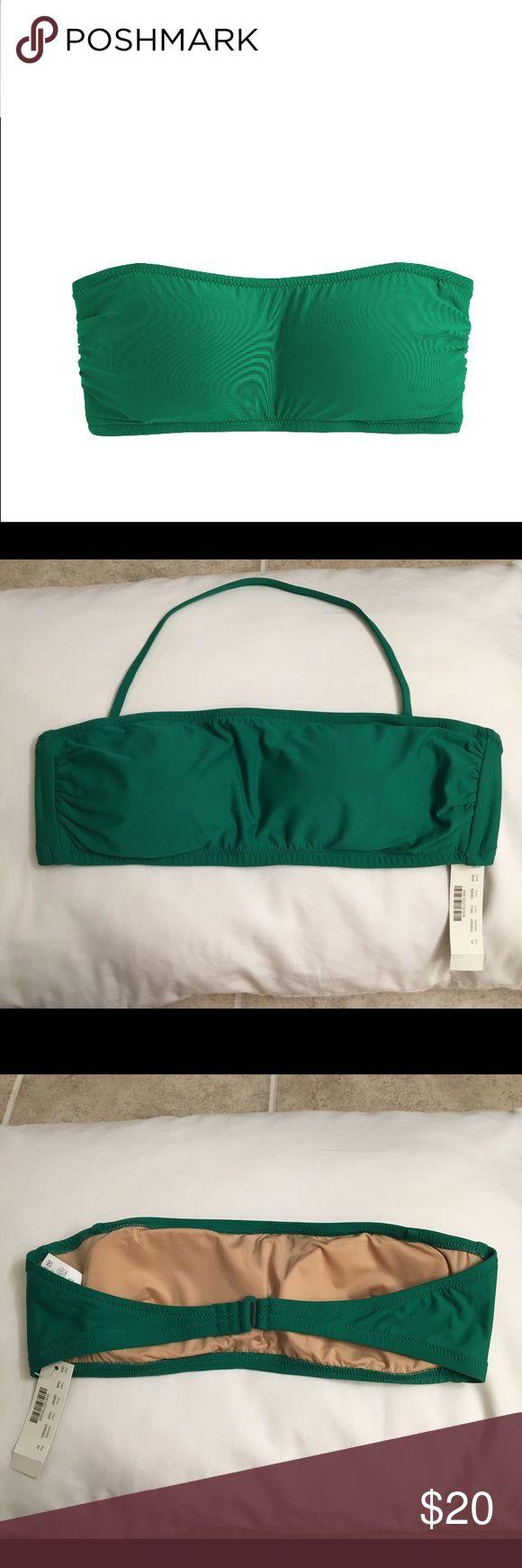 NWT J Crew Bikini Medium bandeau bikini top with optional neck strap. Medium bikini bottom. J Crew's Festive Green. J. Crew Swim Bikinis