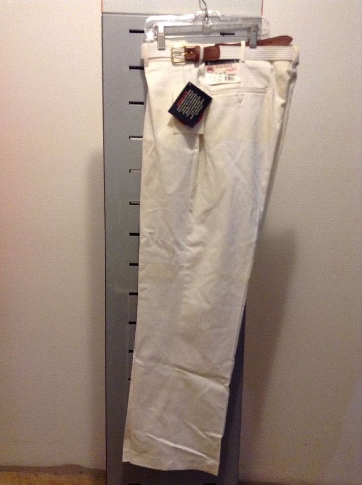 New with Tags Knightsbridge Men's White Dress Pants with Belt 34 x 30 | eBay