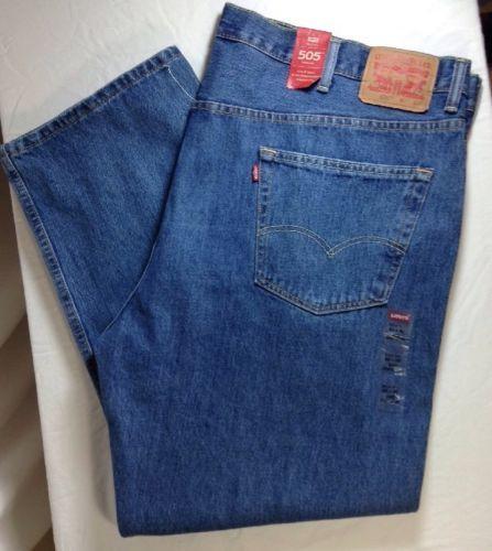 Levis 505 Big & Tall Jeans 50x30 Mens Straight Leg Medium Wash Denim Blue New