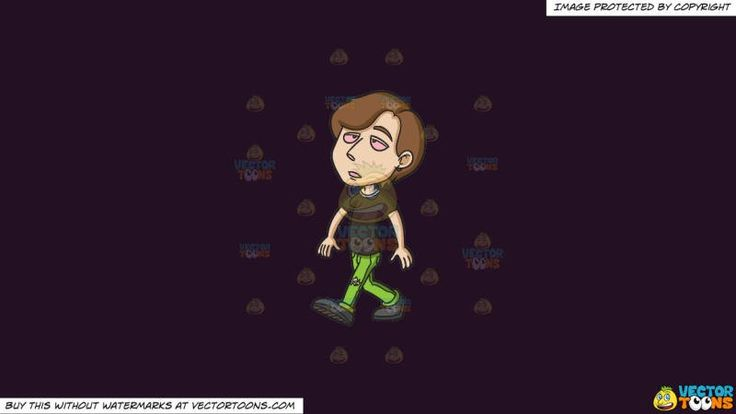 A Young Man Looking High While Walking On A Solid Purple Rasin 241023 Background:   A guy with brown hair wearing a black shirt ripped green pants and black shoes walks aloof while looking stoned eyes all droopy and red