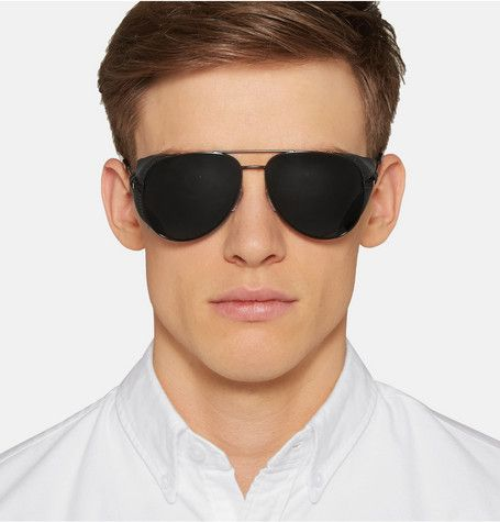 sunglasses for men aviator  Saint Laurent Leather-Trimmed Aviator Sunglasses