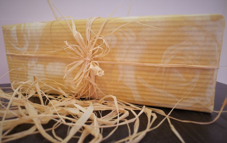 Birthday gift, natural wrapping paper, natural ribbon