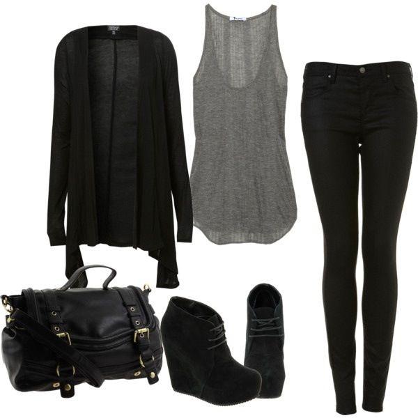 Black, grey, skinny jeans & wedge booties