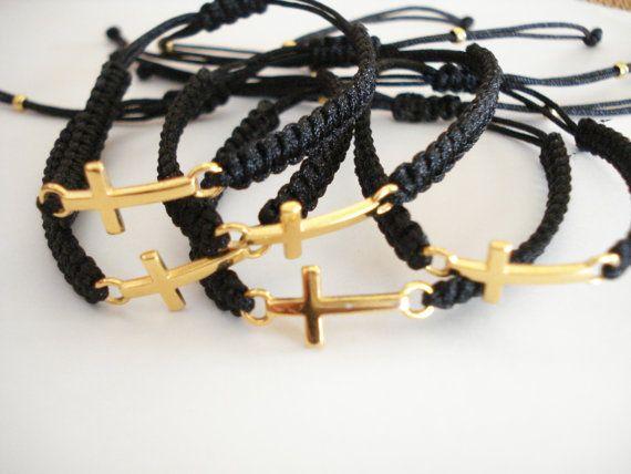 Gold sideways cross bracelet Martyrika Baptism favors by Poppyg