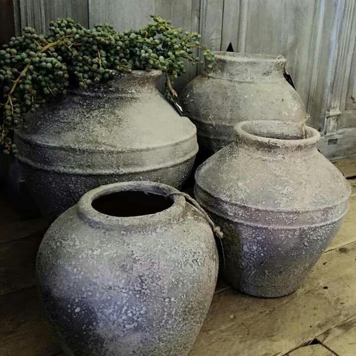 Stenen Kruiken, Landelijke Potten, Oud En Nieuw, Rustic