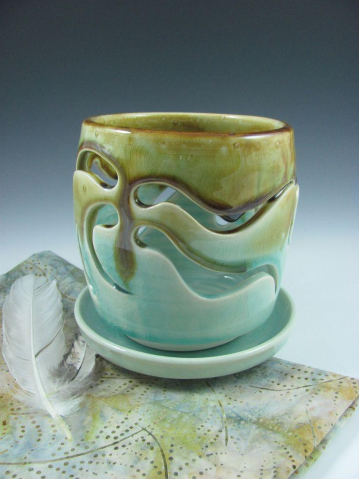 Ceramic Orchid Pots | Orchid Planter Pot Ceramic Glazed in Aqua Blue Green, Handmade by ...