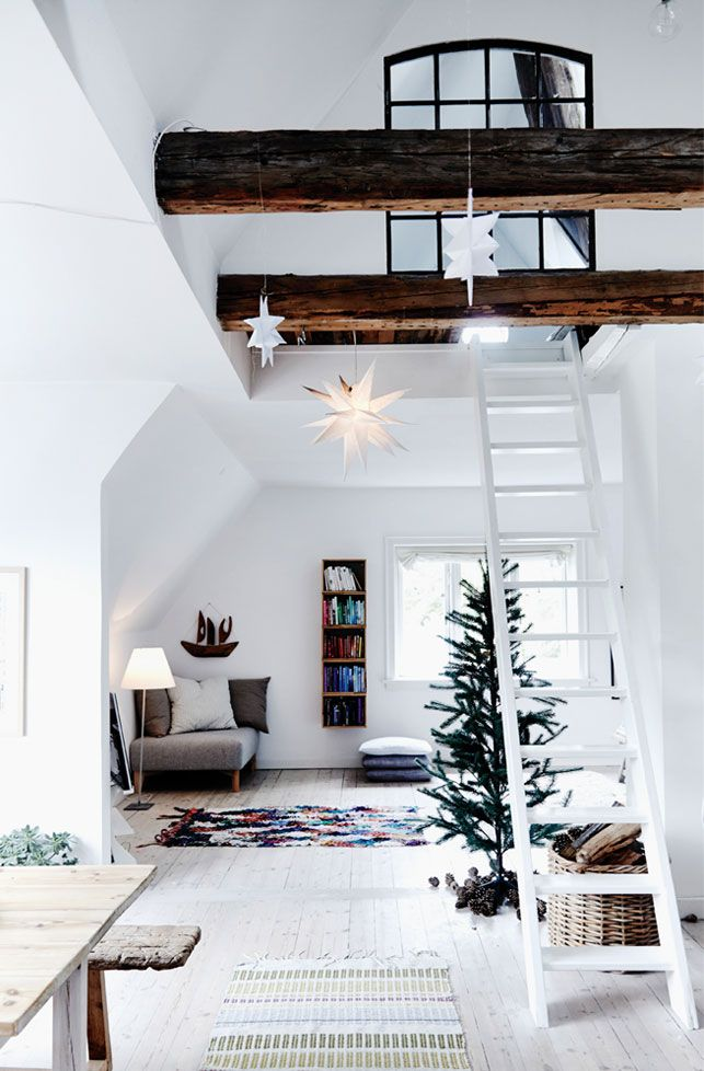 Holiday Decor Inspiration, I love everything about this so much! exposed beam, ladder, loft, all white!