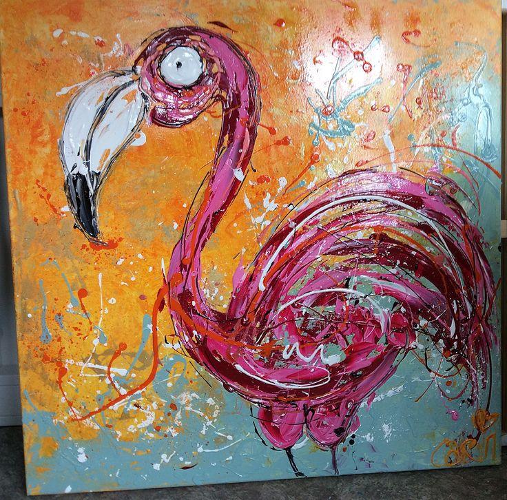 Flamingo ,dieren schilderij veel verf  Kleurrijke kunst modern  Www.carinkunst.nl