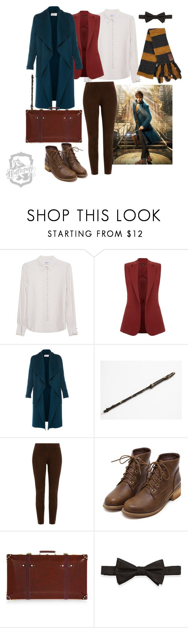 """Fantastic beasts and where to find them - Newt - Hufflepuff"" by dariaamethyst ❤ liked on Polyvore featuring Frame, Theory, L.K.Bennett, Ralph Lauren Black Label, Globe-Trotter and Neiman Marcus"