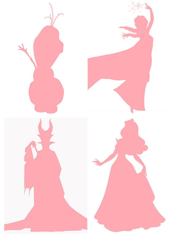 This listing is for 4 JPEG images on a 5x7 format. Silhouettes are of Maleficent, Aurora (Sleeping Beauty), Elsa, and Olaf. Please message me