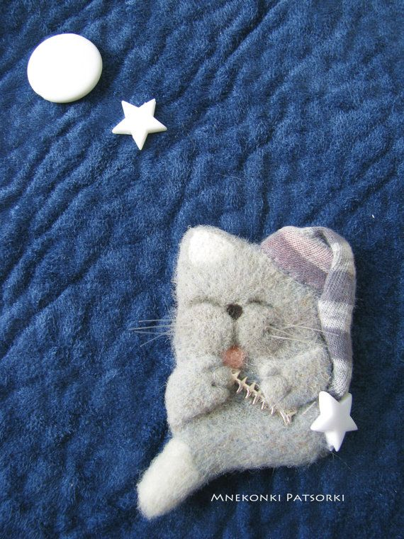 Set 4 Cat Handmade Felt Brooches Made to Order Needle Felting
