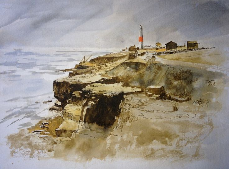 """Portland Bill Lighthouse and the race. Painted in Ink and acrylic 12"""" x 16"""""""