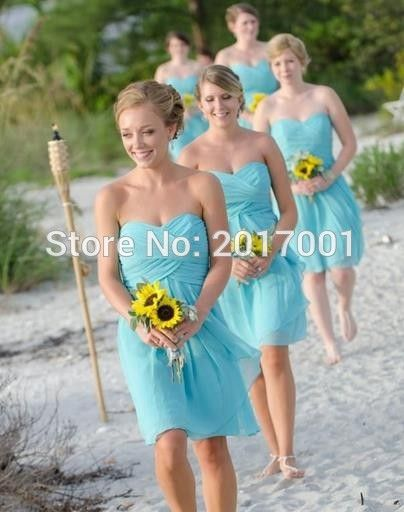 Turquoise Bridesmaid Dresses Coral Blue Chiffon Short Pleated Sweetheart Junior Bridesmaids Formal Dresses For Wedding Cheap