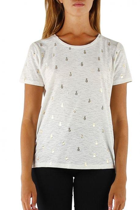 T-shirt ananas blanc & or