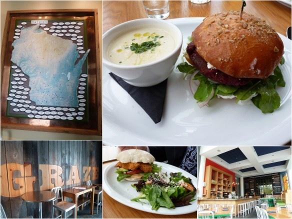 Graze - Farm to table restaurant in Madison, Wisconsin.  I had the Beet and Walnut Burger, Bjorn had the Great Lakes Perch Sanwich YUM.