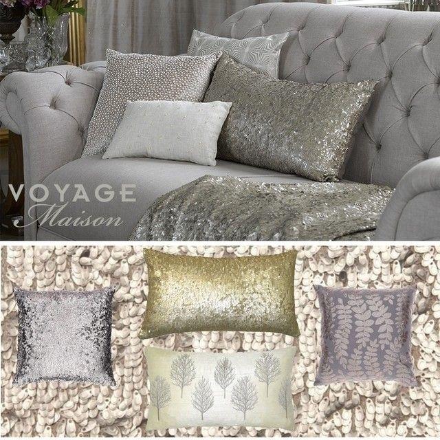 блестящие #подушки #Voyage_Maison добавят вашему интерьеру гламура #pillows #decoration #livingroom #fabric #color #пайетки #galleria_arben