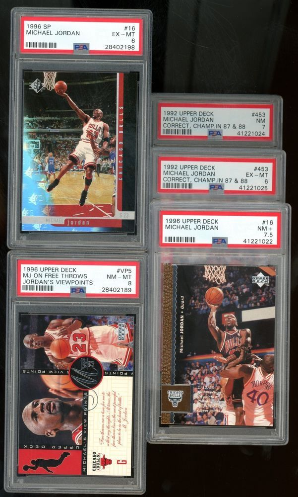 9a60a1768fe34b Lot (5) Upper Deck SP Michael Jordan Bulls HOF All PSA w  7.5 ...
