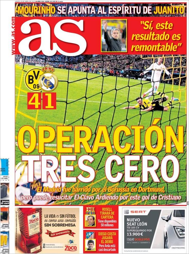 Los Titulares y Portadas de Noticias Destacadas Españolas del 25 de Abril de 2013 del Diario Deportivo As ¿Que le parecio esta Portada de este Diario Español?