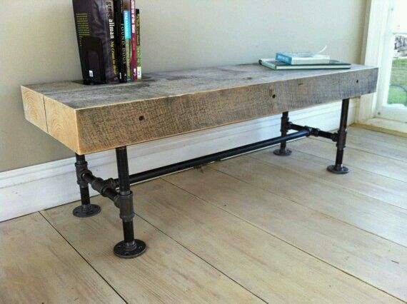 Wood pipe bench google search benches pinterest for Rustic pipe table