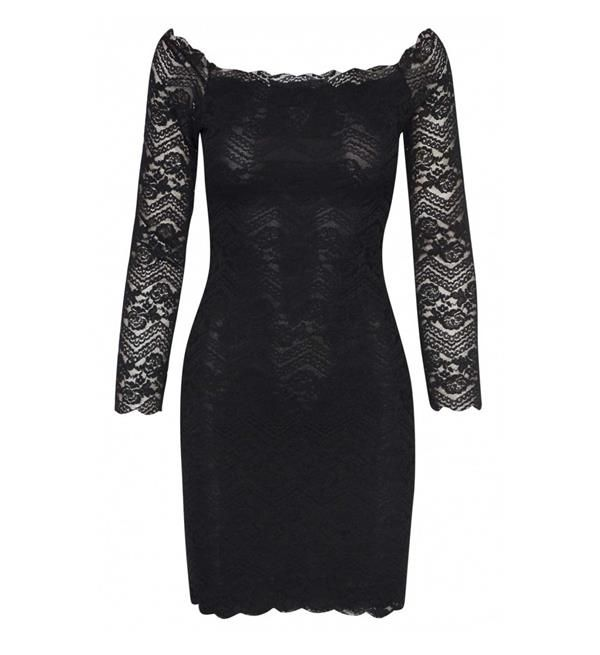 Sisters Point jurk model Vapa. Deze kanten jurk heeft lange mouwen en is gedeeltelijk gevoerd.