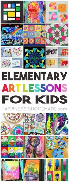 36 Elementary Art Lessons for Kids – one for every week of the school year! Perfect for homeschool f…