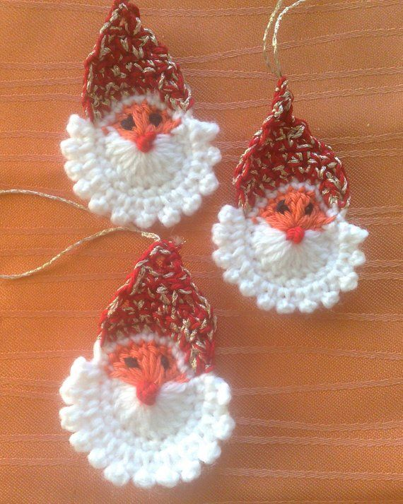 3 Pieces Crocheted Santa Claus Application Christmas Tree