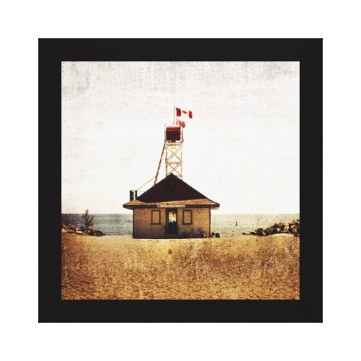 Lifeguard house, the beaches, Toronto Stretched Canvas Print
