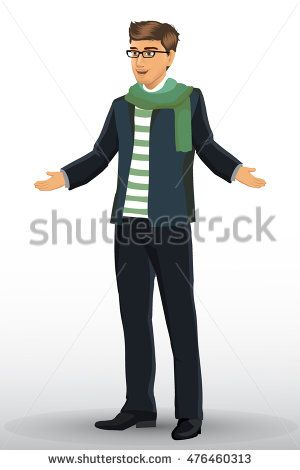 young handsome man in casual clothes. Vector illustration