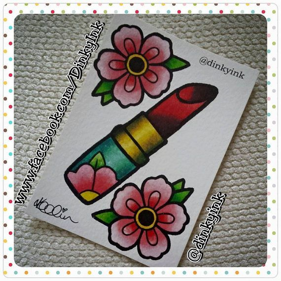 Floral Lipstick Flash Cute A6 Dinky Art Print by DinkyInkStudio