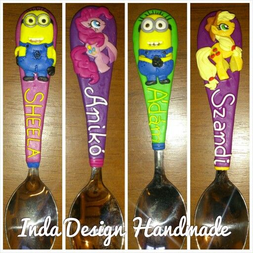 My creations Minions and My little Pony - Apple Jack and Pinkie Pie. Children Personalized Name Cutlery. Unique Gift Handmade