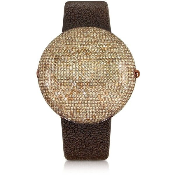 Christian Koban Women's Watches Clou Brown Diamond Dinner Watch ($12,890) ❤ liked on Polyvore featuring jewelry, watches, brown diamond jewelry, drusy jewelry, digital wristwatch, digital wrist watch and digital watches