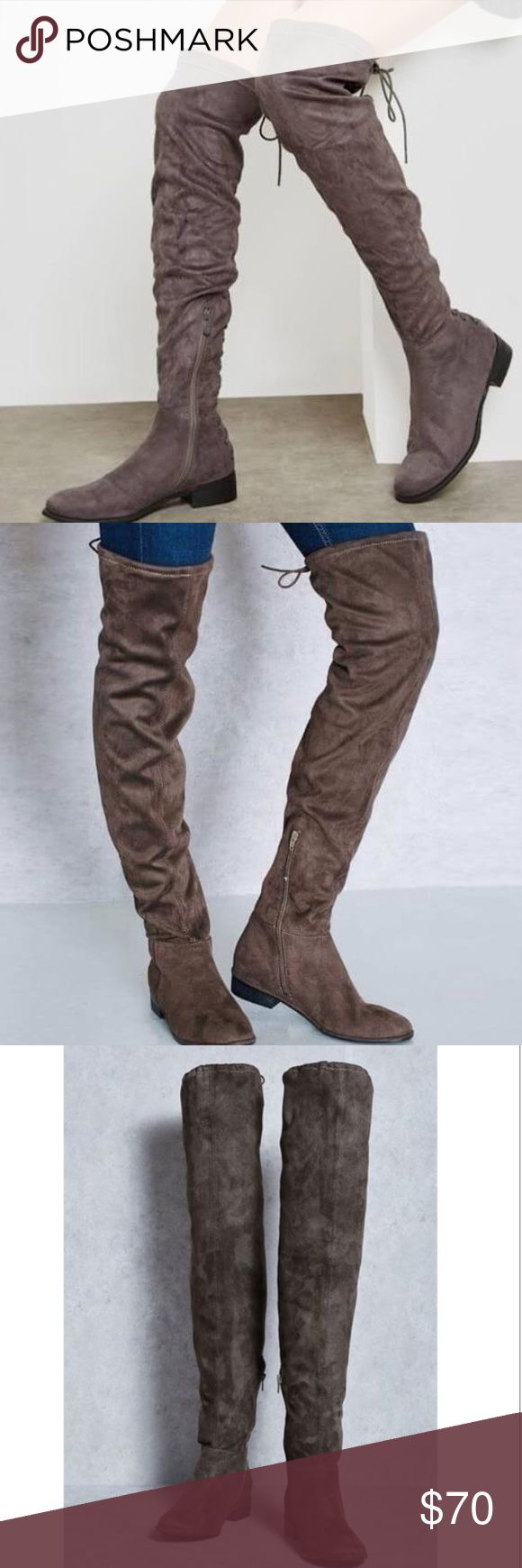 Asos Flat Tie Knee High Boots Perfect condition, never worn!! these go over your knees. beauuutiful boots!! bought them for 90 plus shipping!! i suck at taking pics of shoes but these are in really good condition :) looks exactly like the modeled photos on!! message me for discount options!! ASOS Shoes Over the Knee Boots