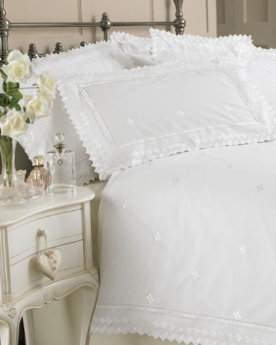 White Broderie Anglaise Design King Size Bed Duvet Cover