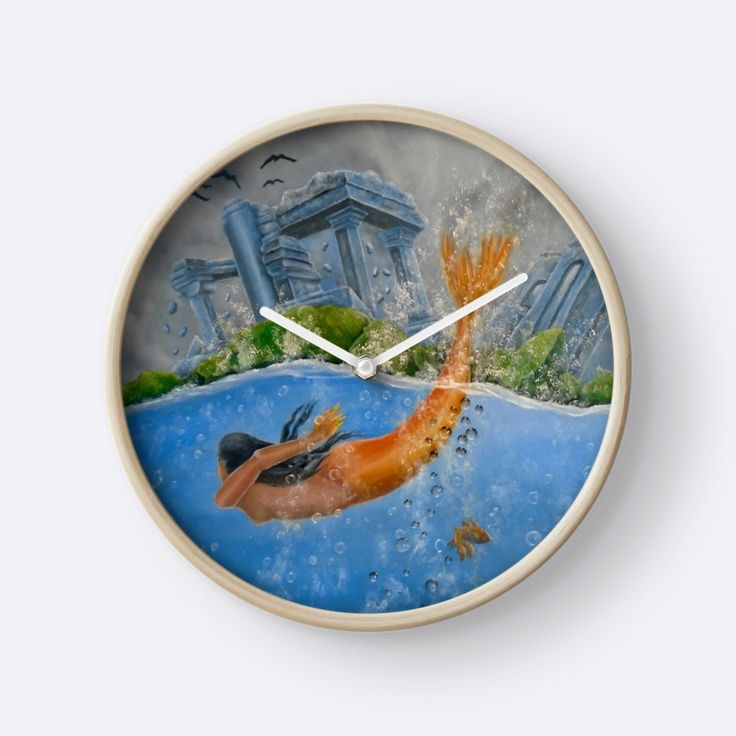 Wall Clock, artistic,decorative,items,fantasy,mermaid,blue,modern,beautiful,awesome,cool,home,office,wall,decor,decoration,ideas,for sale,redbubble