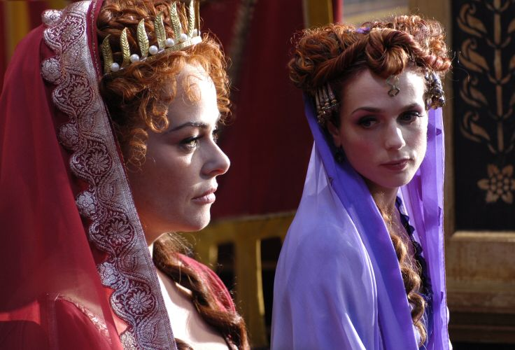 Atia (Polly Walker) and her daughter Octavia (Kerry Condon) are of the same mind when it comes to Livia. Rome TV Series - Season 1 Episode 10 Still