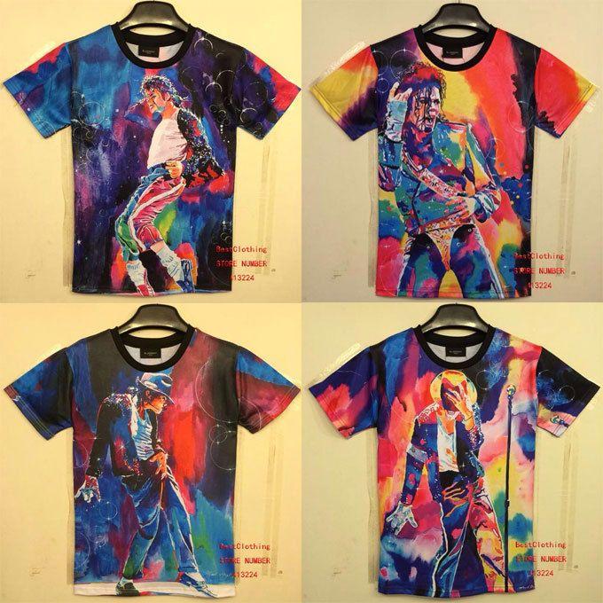 Barato Nova 2014 moda masculina t  shirt 3d impressão Rei do Rock and Roll Michael Jackson camiseta 3d para homens Boy Camiseta Ásia M / L / XL / XXL HT8, Compro Qualidade Camisetas diretamente de fornecedores da China:        2014 Nova moda das mulheres dos homens de 3D t -shirt 3d impresso sexy tees gatos camiseta animais de impressão d