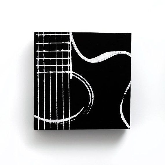 6 x 6 Acoustic Guitar Music Canvas (Black w/ White) Screenprint/Painting, Guitar Print, Music Wall Art, Black and White Home Decor