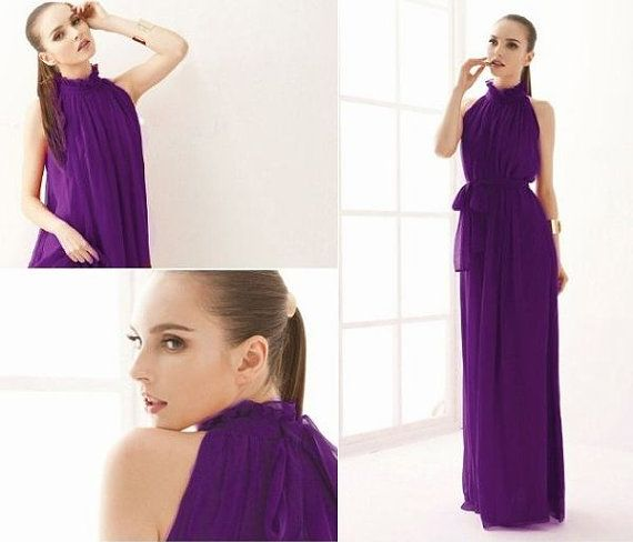 Mauve chiffon maxi dress